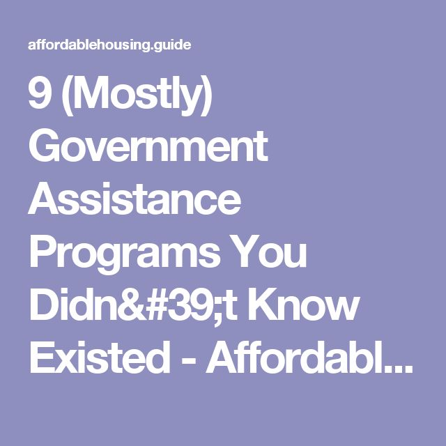 9 (Mostly) Government Assistance Programs You Didn't Know Existed - Affordable Housing Guide: Low Income Housing Resources, Section 8 Application Info, Open Waiting List Alerts & Much More