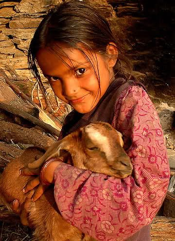 A mountain girl and her goat, shot in Uttarnchal, India by Sanzen