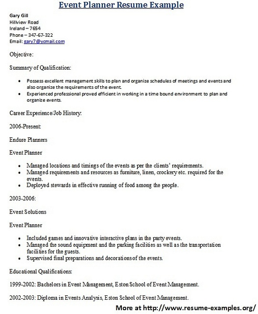 21 best Sample Resumes images on Pinterest Sample resume, Resume - sample event planner resume