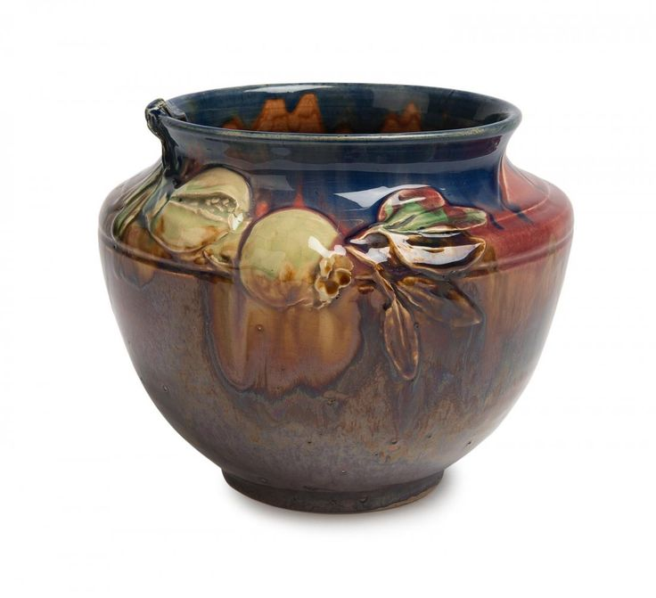 Alan James (act. circa 1932-1979) for Remued A wheel thrown glazed earthenware jardinière decorated with pomegranates and leaves, 1933 incised A James, 1933