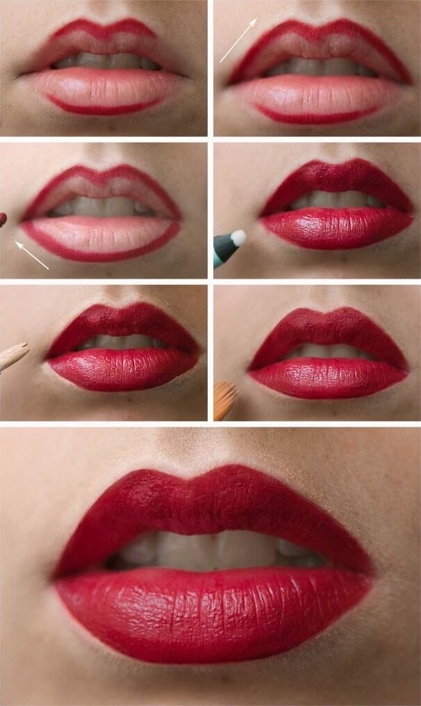 9 Everyday Makeup Tutorials for Every Girl: Lips outlined with thick lip liner and filled with red lipstick, concealer to line outer lips