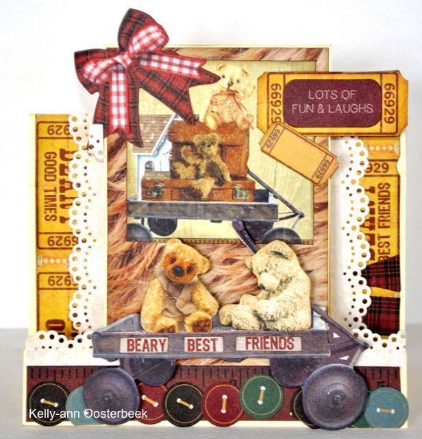 A step card made using the Teddy Bear's Picnic Collection from kaisercraft by Kelly-ann Oosterbeek.