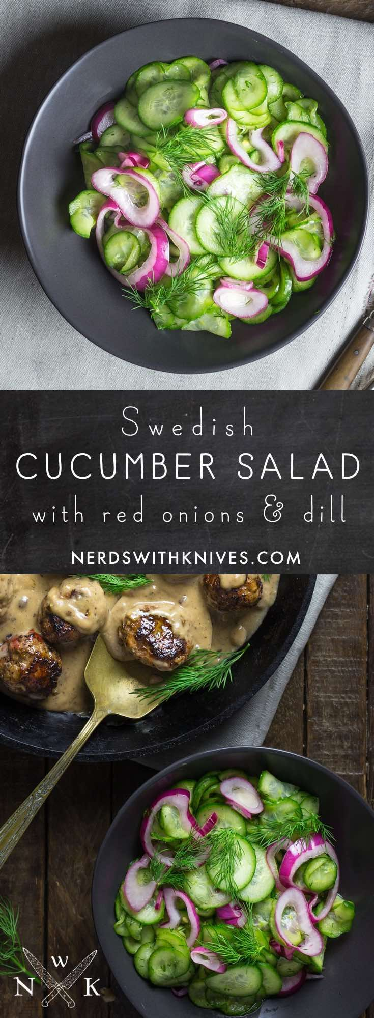 Swedish Cucumber and Red Onion Salad with Dill is light and refreshing with the perfect balance of sweet and tart.