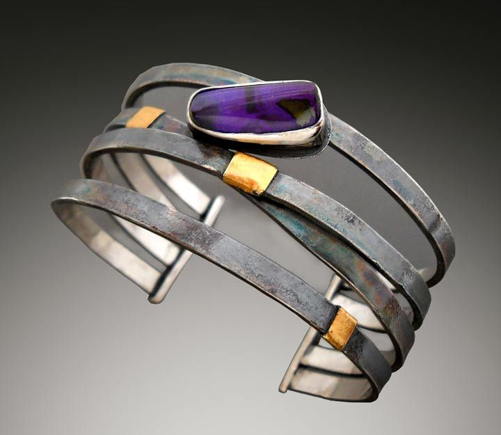 Cuff | Patricia McCleery. Sterling silver and gold, Boulder Opal