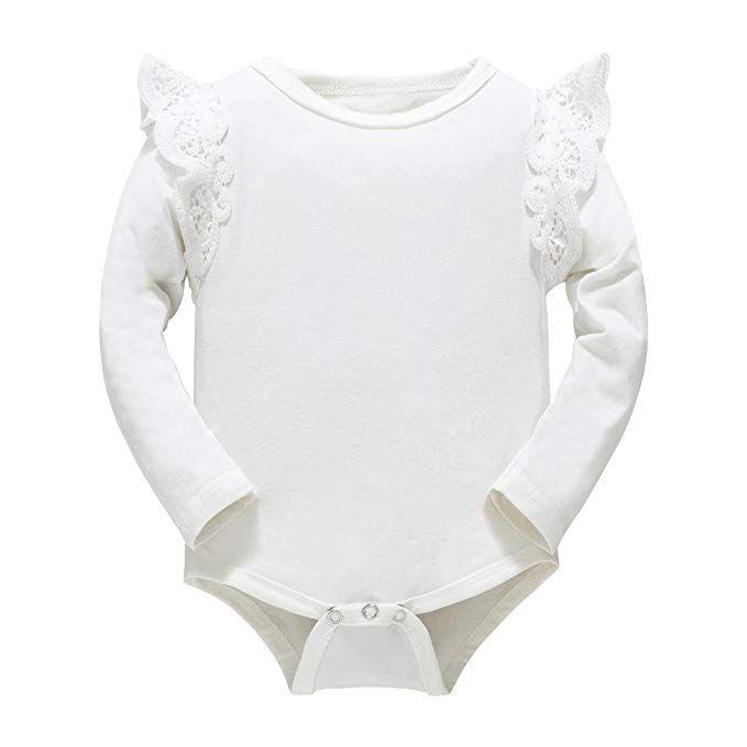 49b679424536 Huata Baby Girls Boys Long Sleeve Onesies Bodysuit Baby Romper (White