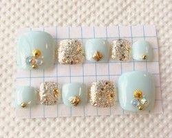 フルペディ♡アイスブルー♡ゴールド♡フット♡ネイルチップ♡付け爪♡ジェル