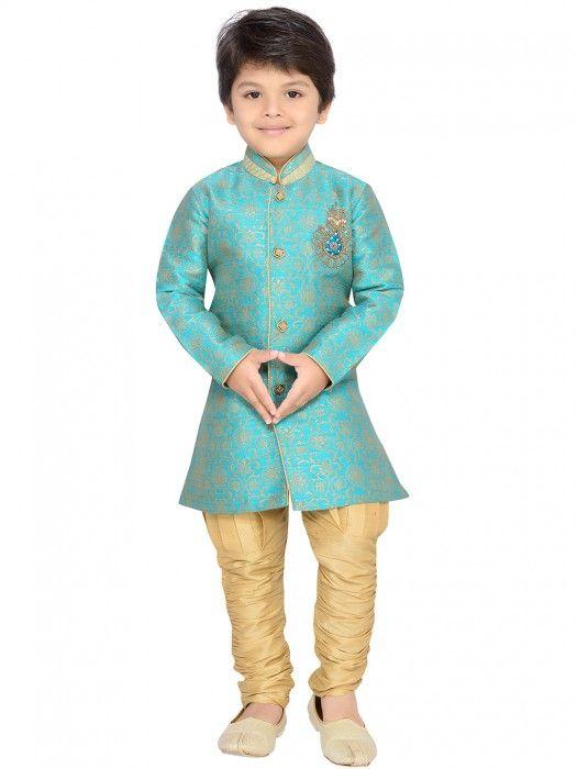 Shop G3 Exclusive raw silk wedding aqua boys indo western online from G3fashion India. Brand - G3, Product code - G3-BIW0217, Price - 2695, Color - Aqua, Fabric - Raw Silk,