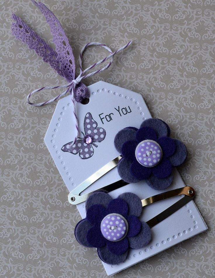 Purple button hair clips