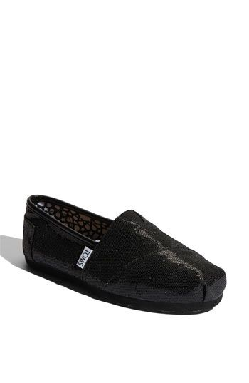 TOMS 'Classic' Glitter Slip-On in black - Such a cute way to add some sparkle to jeans and a tee.