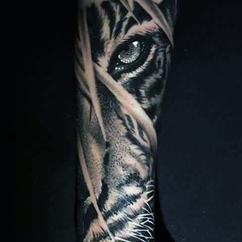 Male Siberian Tiger Eye Tattoo Sleeve