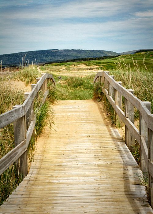 inverness, boardwalk, 5x7, Nova Scotia, Cape Breton Island, Canada, beach, blue, yellow, green, wood, fine art photography