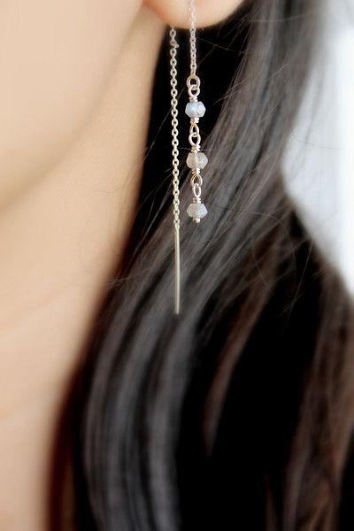 Labradorite Threader Earrings /  Sterling Silver Ear Threads / Gugma Jewelry