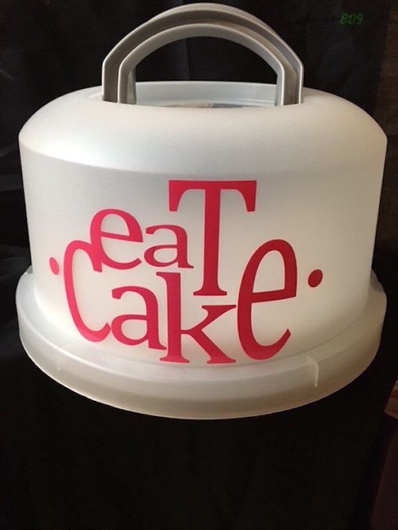 A personal favorite from my Etsy shop https://www.etsy.com/listing/386085542/cake-carrier-with-vinyl-eat-cake