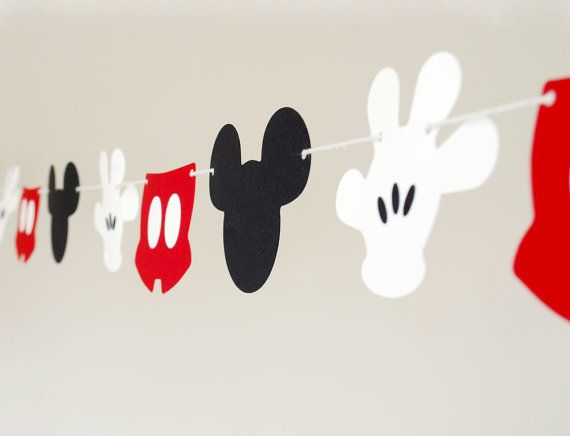 This garland is perfect for any disney/ Mickey themed party or room decoration. Made out of extra thick card stock (100lb cover card stock) so they will last a long time- perfect for a more permanent room decoration. Each piece is about 4 wide- and will be about 5ft long when spaced