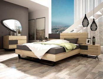 Κρεβατοκάμαρα CITY με στρώμα.  Μίνιμαλ σετ κρεβατοκάμαρας με φυσική απόχρωση ξύλου και μεταλλικά πόδια ηλεκτροστατικής βαφής. Οι τετράγωνες λακαριστές λεπτομέρειες διατίθενται σε πολλές αποχρώσεις. Διαστάσεις: Κρεβάτι: 160x210cm (στρώμα 150x198cm). Κομοδίνο: 50 ή 60x44cm. Τουαλέτα: 120x46x80cm. Καθρέπτης: 118x80cm. www.tiniakos.gr