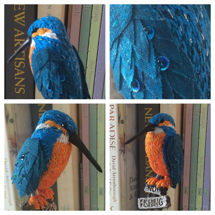 My latest commission Fabric Bird- a #kingfisher #fabric #textile # bird   BoredPanda