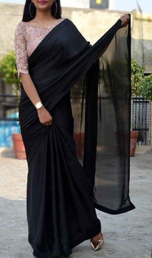 Black Satin Georgette Saree Custom Made Designer Chantilly