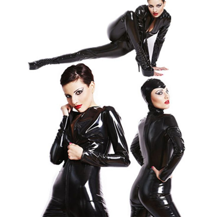 Hot Sale Adult Women Sexy Black Leather PVC Bodysuit Latex Bondage Open Crotch Catsuit Exotic Catwoman Clubwear Cosplay