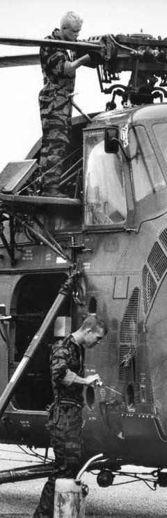 Daybreak found on the flight line.  21-year old crew chief James Farley's painstaking last-minute checks to ensure everything is shipshape.