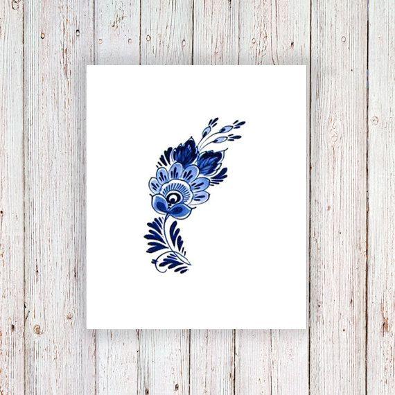 Delft Blue tatouage temporaire fleur / delft blue par Tattoorary