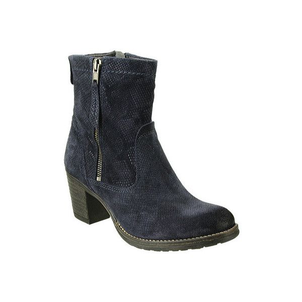 Women's Taos Footwear Standout Reptile Embossed Suede Boot ($215) ❤ liked on Polyvore featuring shoes, boots, casual, heels, blue suede boots, thick heel shoes, animal print boots, mid heel shoes and suede heel boots