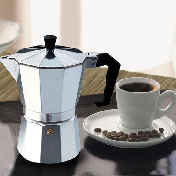 600ML 12 Cup Coffee Moka Pot Stove Percolator Maker Top Expresso Latte Aluminum