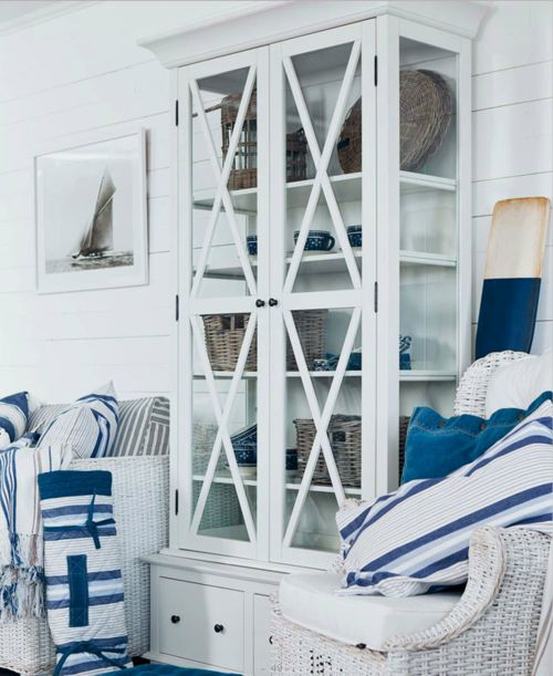 147 best seaside inspired rooms blue and white chic for Beach inspired interiors