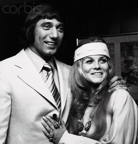 C. C. & COMPANY (1970) - New York Jets quarterback Joe Namath joins Ann-Margret to promote their new motorcycle film - Screenplay by Ann-Margret's husband Roger Smith - Directed by Seymour Robbie - Avco-Embassy Pictures - Publicity Still.