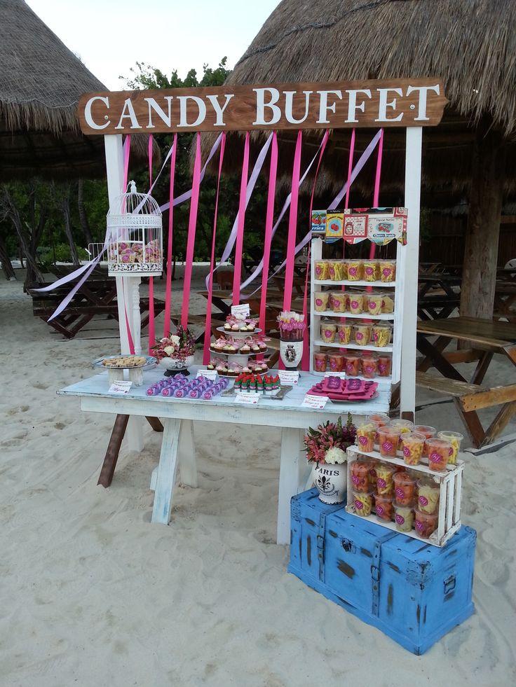 Mesa de postres para boda en playa bodaenplaya ibero for Mesa de postres para boda