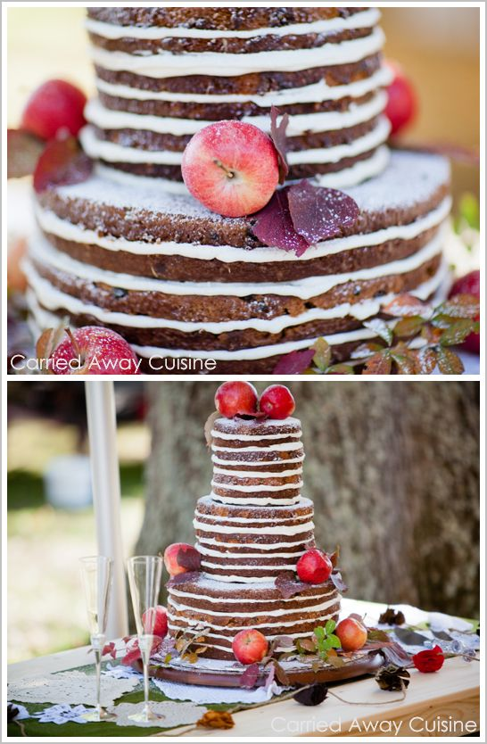 Since I don't care for frosting this is Perfect!  Rustic Apple Wedding Cake