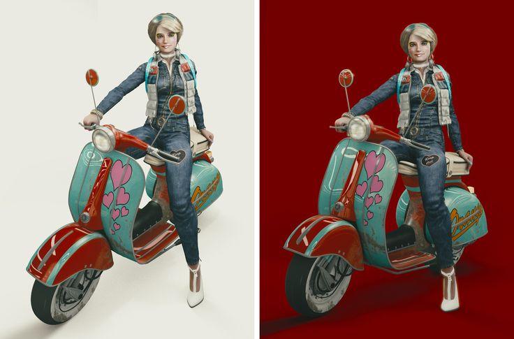 Vespa Girly Concept, zoltan miklosi on ArtStation at https://www.artstation.com/artwork/GW9RQ