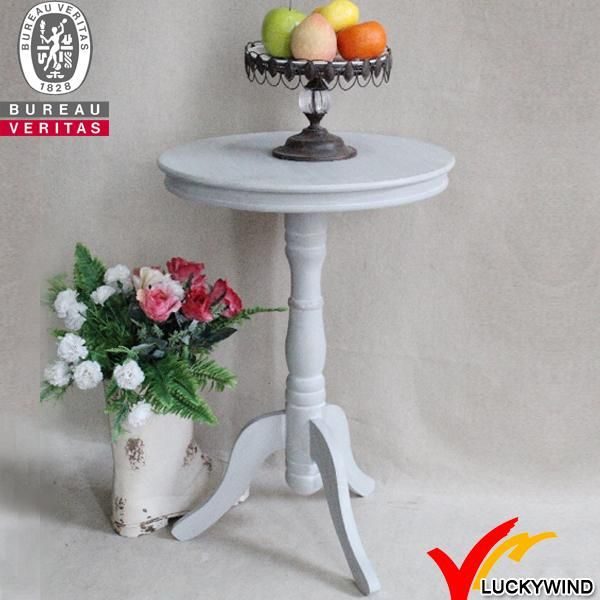 French Country Three Legs Small Antique Round Wooden Side Table ...