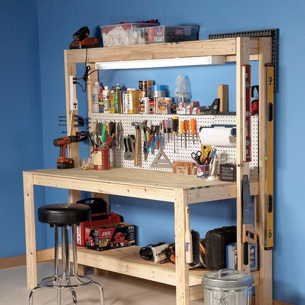 DIY Workbench With Small Pegboard Panel For The Home Project Ideas