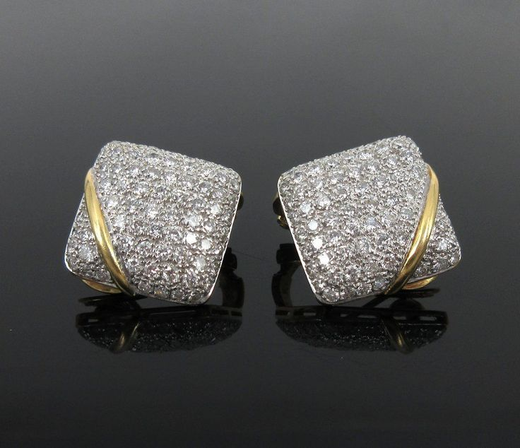 Vintage 3.25ct Diamond & 18K Yellow Gold Cushion Shape Clip Earrings