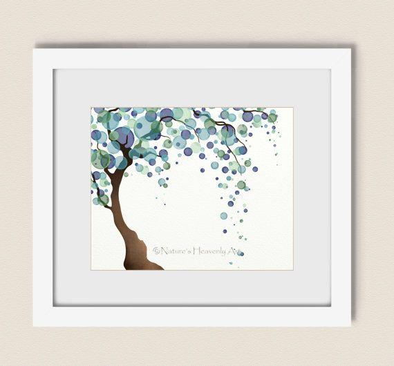 Blue Green Tree Art Print 8 x 10 Watercolor by NaturesHeavenlyArt, $15.00