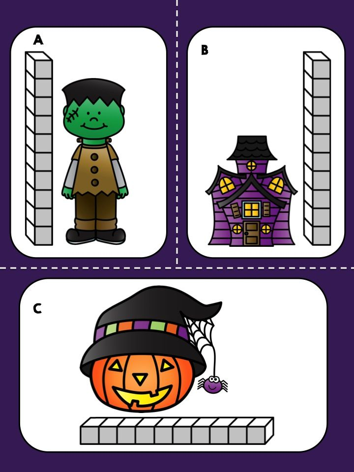 *** FREE *** Halloween Measurement Math Center >> Measure Halloween objects using units and record your answer on the worksheet.