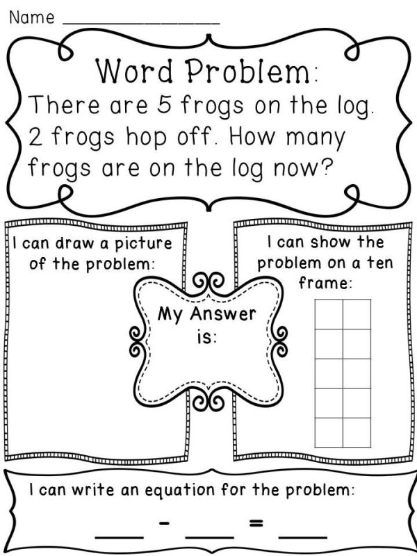 Subtraction within 10 word problems worksheets to help kids see the problems in a variety of ways (drawing a picture, making a ten frame, and writing a number sentence) by janie