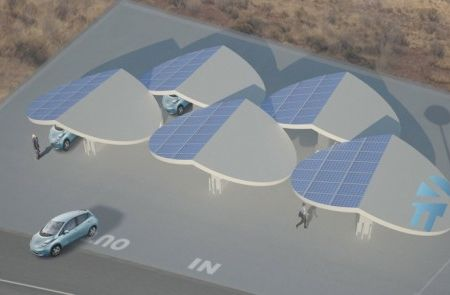 Future design for a solar powered electric vehicle charging station - find more cool designs here http://www.mysolarquotes.co.nz/blog/future-of-solar-power/the-coolest-solar-power-car-charging-station-designs