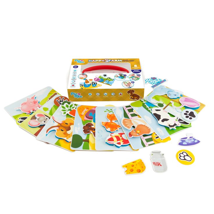 """Picnmix  """"Happy Farm"""" educational toy game includes 8 different scene cards & 24  re-stickable pieces"""