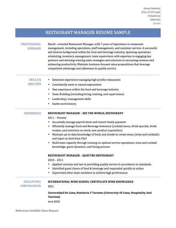 Restaurant Manager Resume Check More At Https Nationalgriefawarenessday Com 1533 Restaurant Manager Resume