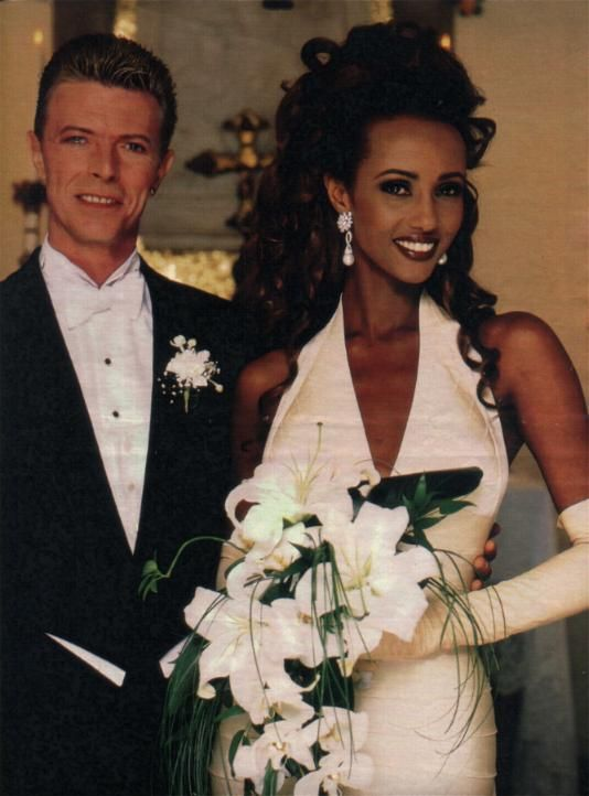 David Bowie and Iman wedding ages ago -- 2 of THE MOST BEAUTIFUL people on this planet...in my top 5 for sure. orzabal, magno and smith family follow...