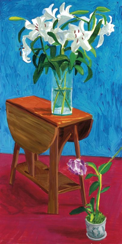 David Hockney (British, b. 1937), White Lilies and Orchid, 1996. Oil on canvas.