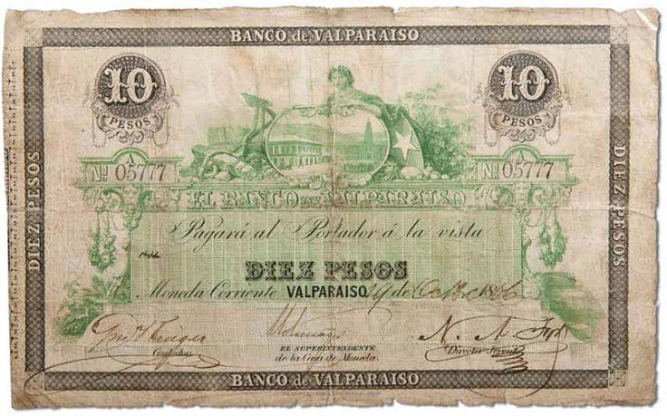 Billete emitido por el Banco de Valparaìso en 1866  (Banco de Chile Patrimonio de Todos los Chilenos, Patricia Arancibia Clavel)