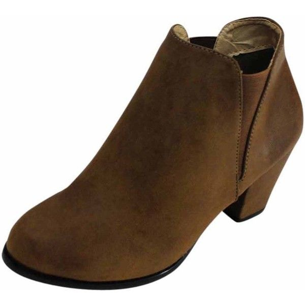 Brown Classic Chunky Heel Booties ($35) ❤ liked on Polyvore featuring shoes, boots, ankle booties, boots women, brown, footwear, chunky heel booties, tall boots, thick heel booties and chunky-heel boots
