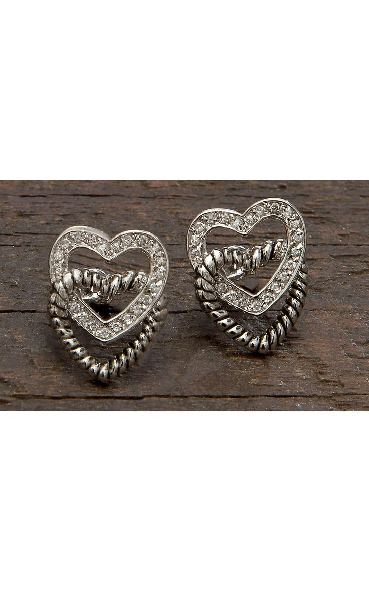 Montana Silversmiths Crystal and Twisted Rope Hearts Post Earrings