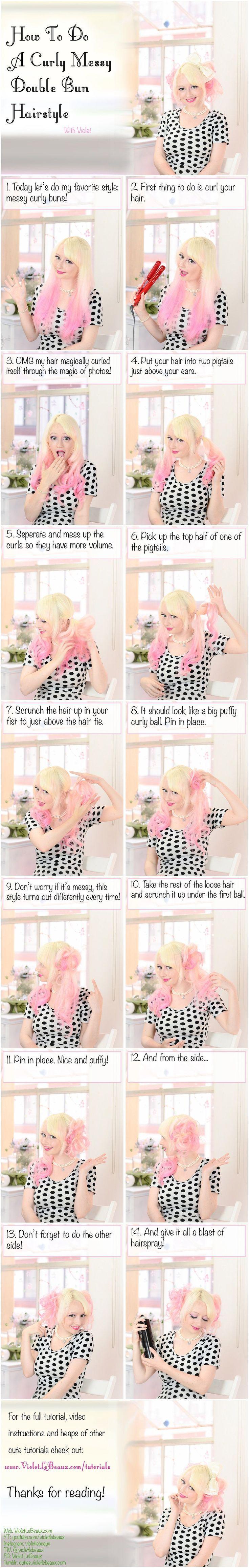 Curly chaotisch Doppel-Brötchen Frisur Tutorial Violet le Beaux und ry.com.au Violet L ... #Brot #chaotisch #doppelte # Frisur