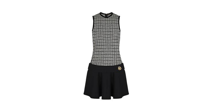 Discover Louis Vuitton Wool Dress With Bijou Button Belt:  This sleeveless minidress has a long, straight-cut top in light wool boucle check and a skirt in silk and wool. Low on the waist, a silk and wool belt features a jewel button.