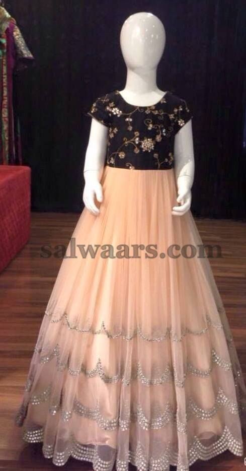 Light Peach and Black frock - Indian Dresses