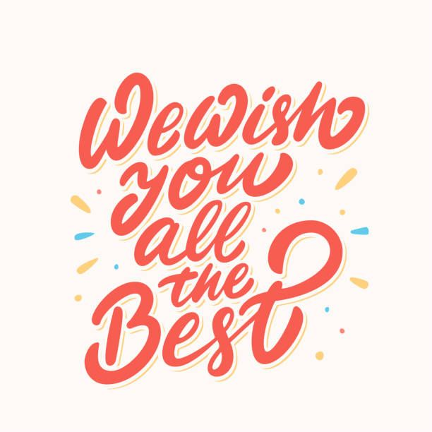 We Wish You All The Best Farewell Card Vector Lettering Vector