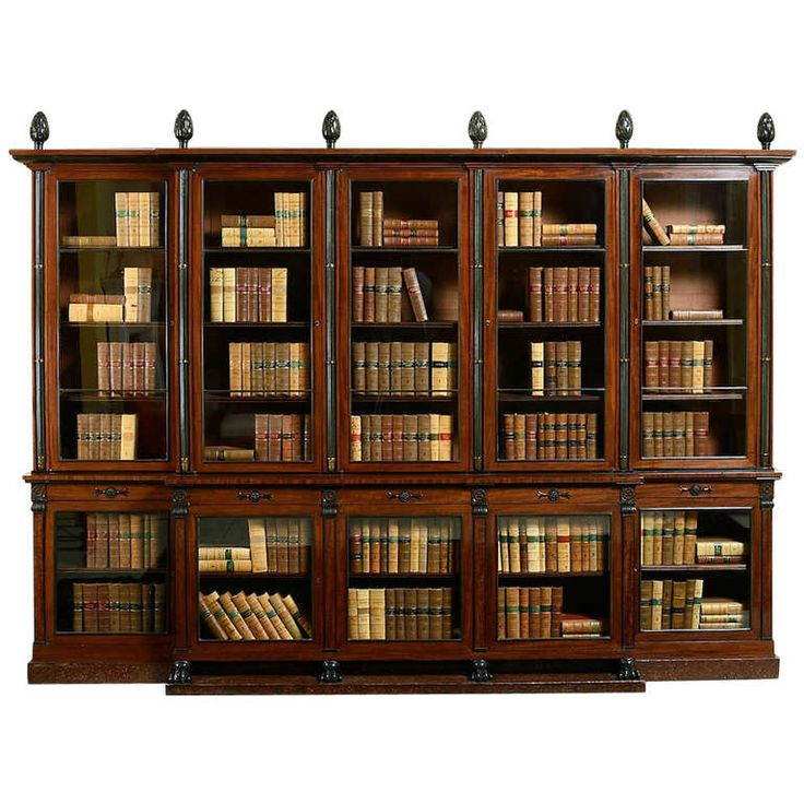 REGENCY BRONZE-MOUNTED AND EBONISED FIGURED MAHOGANY BREAKFRONT BOOKCASE ATTRIBUTED TO ROBERT HERRING, CIRCA 1810.